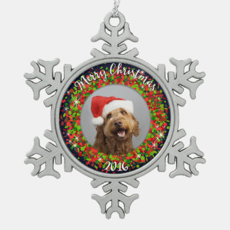 Your Photo Merry Christmas Pewter Snowflake Decoration