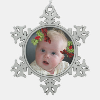 Your Photo on Christmas Holly Snowflake Ornament