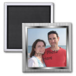 Your Photo On Silver Framed Magnet