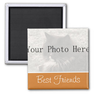 Your Photo- Orange Best Friends Magnet