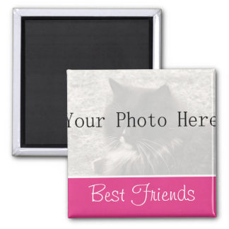 Your Photo- Pink Best Friends Magnet
