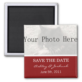 Your Photo- Red Save The Date Magnets