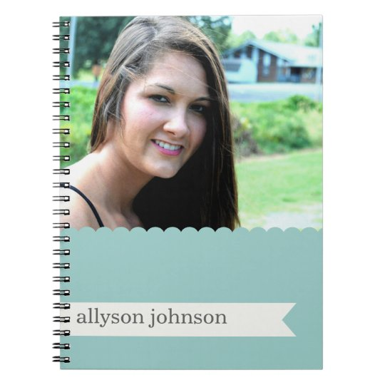 Your Photo Scalloped Blue Note Book