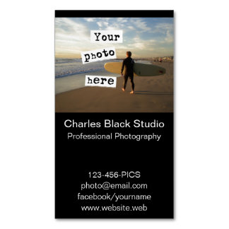 Your Photo Simple Black Business Card Template Magnetic Business Cards