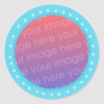Your photo stickers, in a blue dots circle frame