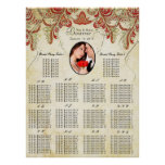 Your Photo Vintage Gold Seating Chart Alphabetical Poster