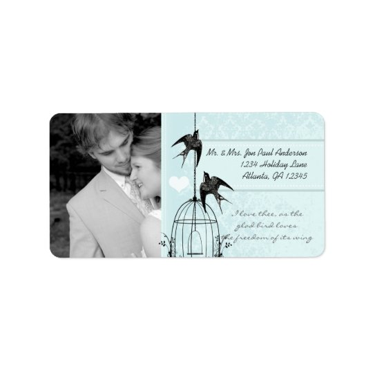 Your Photo Wedding Vintage Bird Cage Aqua Damask Label