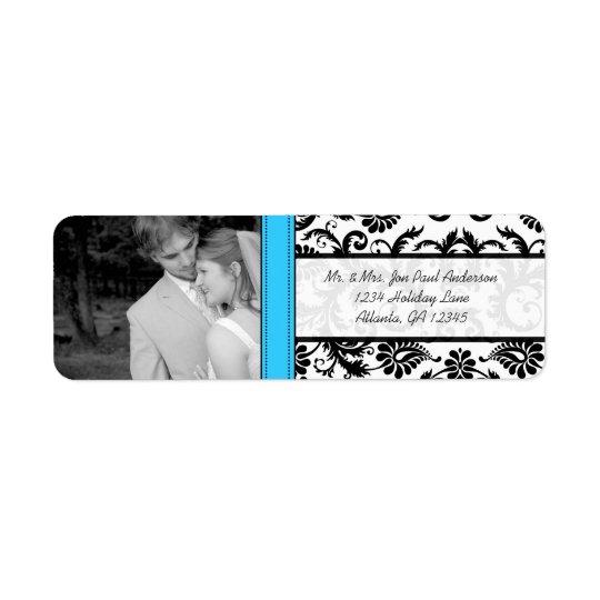 Your Photo Wedding Vintage Lite Bright Aqua Damask Return Address Label