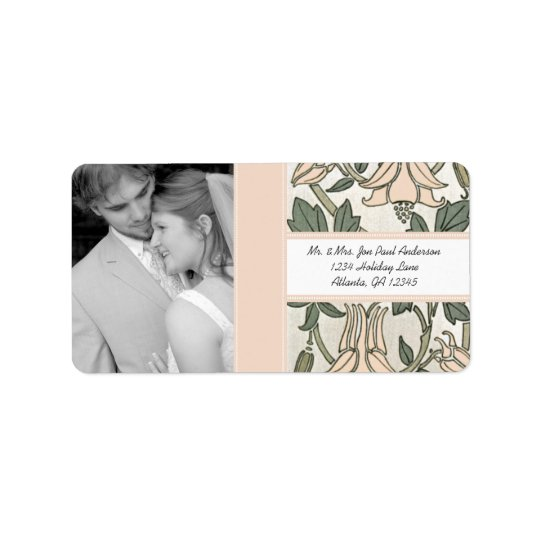 Your Photo Wedding Vintage Silver Peony & Green Address Label