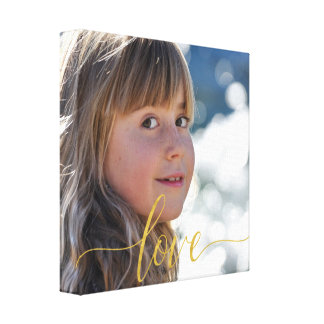 Your photo with gold love typography script canvas print