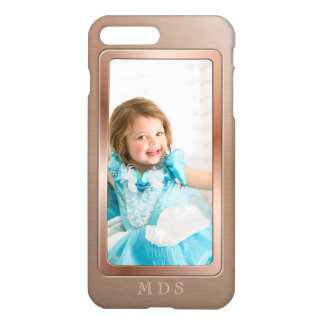 Your Photo with Rose Gold Picture Frame Monogram iPhone 8 Plus/7 Plus Case