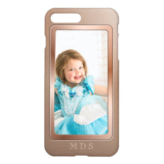 Your Photo with Rose Gold Picture Frame Monogram