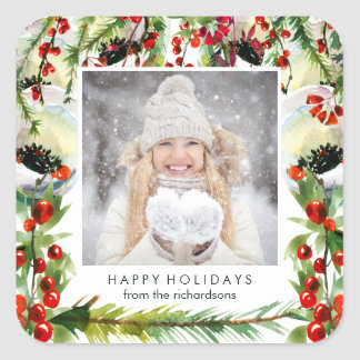Your Photo with Watercolor Christmas Berries Square Sticker