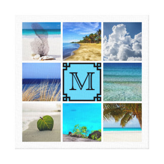 Your Photos Collage Template With Black Monogram Canvas Print