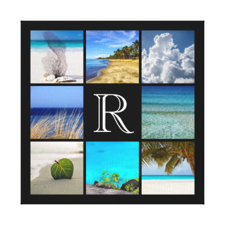 Your Photos Collage Template With Monogram Canvas Print