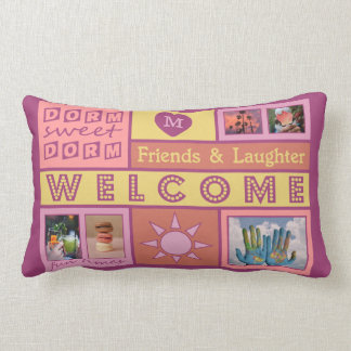 YOUR PHOTOS & MONOGRAM dorm room throw pillow