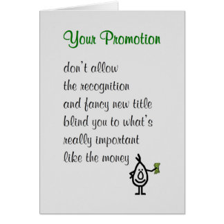 Your Promotion - a funny Congratulations Poem Card