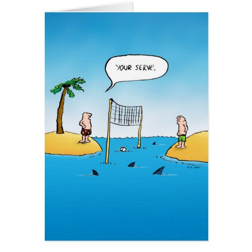 Your Serve Shark Volleyball Blank Inside Card