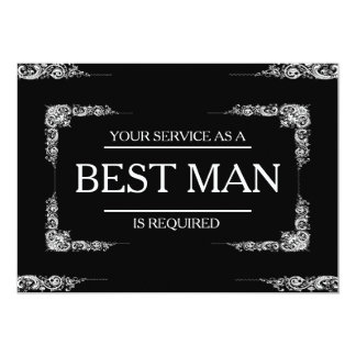 Your Service Is Requested as Best Man Groomsman 13 Cm X 18 Cm Invitation Card