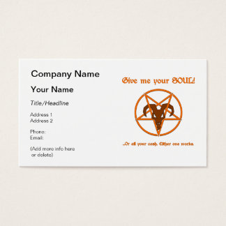 Your Soul Or Cash Satan Pentacle and Goat Humor Business Card