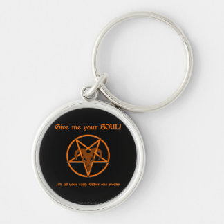 Your Soul Or Cash Satan Pentacle and Goat Humor Key Ring