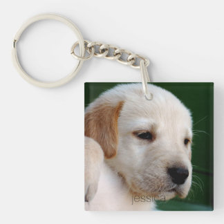 Your Square Photo Replaces Yellow Lab Puppy Single-Sided Square Acrylic Key Ring