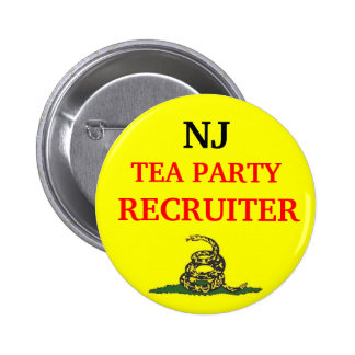 Your State TEA PARTY RECRUITER 6 Cm Round Badge