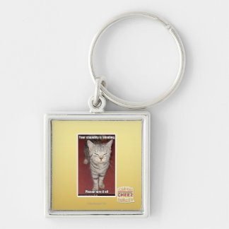 Your stupidity is blinding 2 Silver-Colored square key ring