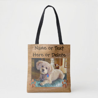 Your Text and Dog Photo Tote Bags Tote Bag