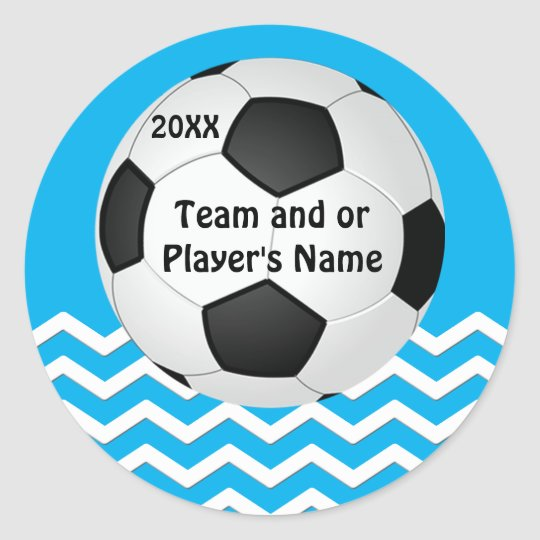 Your Text and Team Colours Chevron Soccer Stickers