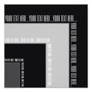"""""""Your Text Here"""" Black/Grey Color Corner (MB) Photographic Print"""