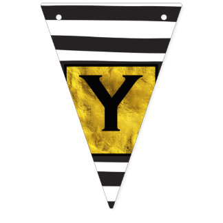Your Text Here Gold Black Stripe Pattern Bunting