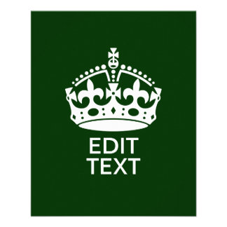 Your Text KEEP CALM CROWN on Green Customize it! 11.5 Cm X 14 Cm Flyer
