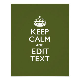 Your Text Keep Calm on Olive Green Decor 11.5 Cm X 14 Cm Flyer