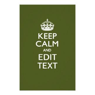 Your Text Keep Calm on Olive Green Decor 14 Cm X 21.5 Cm Flyer