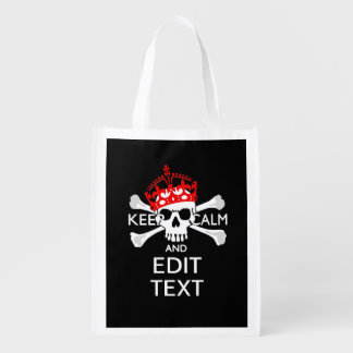Your Text Keep Calm Red Crown Crossbones Skull