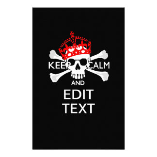 Your Text Keep Calm Red Crown Crossbones Skull 14 Cm X 21.5 Cm Flyer