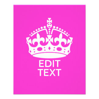 Your Text on Keep Calm Crown Hot Pink 11.5 Cm X 14 Cm Flyer