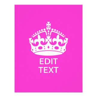 Your Text on Keep Calm Crown Hot Pink 21.5 Cm X 28 Cm Flyer