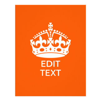 Your Text on Keep Calm Crown Orange 21.5 Cm X 28 Cm Flyer
