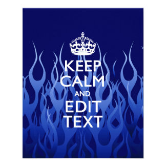 Your Text on Keep Calm on Blue Racing Flames 11.5 Cm X 14 Cm Flyer