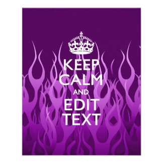 Your Text on Keep Calm on Purple Racing Flames 11.5 Cm X 14 Cm Flyer