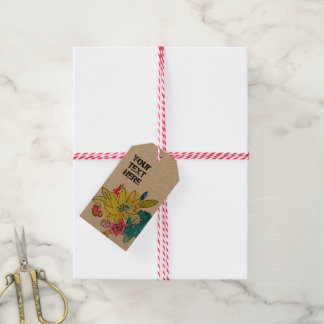Your text sign with summer flowers, spring themed gift tags