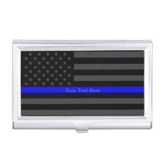 Your Text Thin Blue Line Classy Black US Flag Business Card Holders