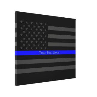Your Text Thin Blue Line Stylish Black US Flag Canvas Print