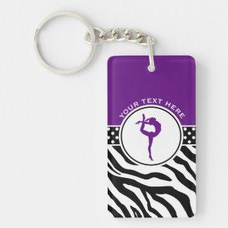 Your Text Zebra Print Gymnastics in Purple Double-Sided Rectangular Acrylic Key Ring