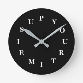 Your Time Is Up Black Medium Clock by Janz