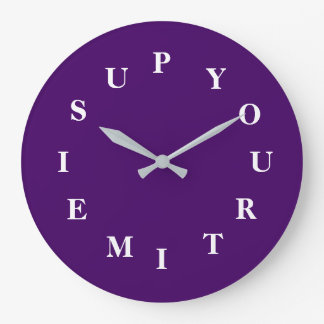 Your Time Is Up Purple Large Round Clock by Janz