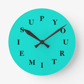 Your Time Is Up Turquoise Medium Clock by Janz