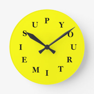 Your Time Is Up Yellow Medium Clock by Janz